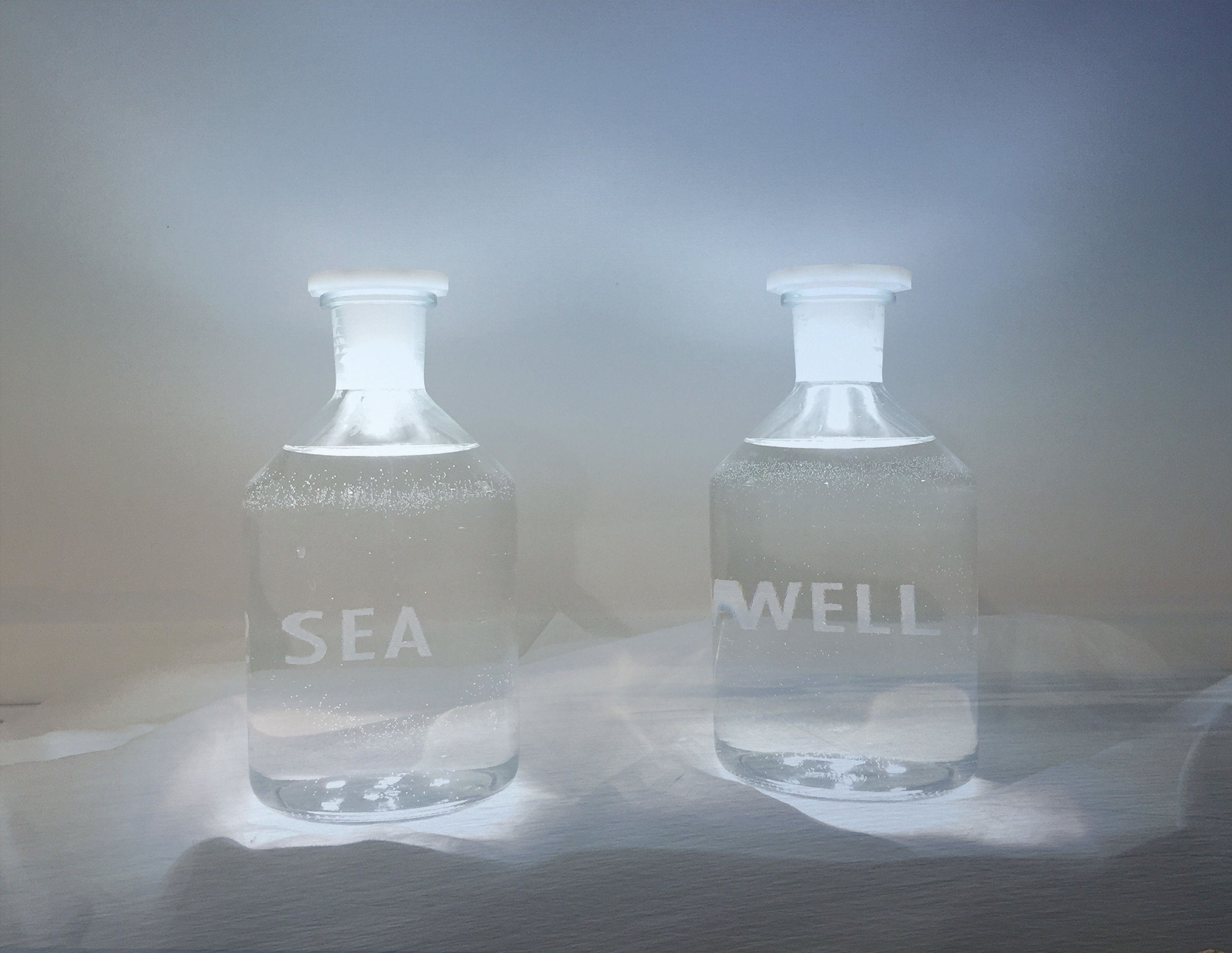 SEA WELL, 2017  Fresh water, sea water (Finisterra, Spain), glass, light