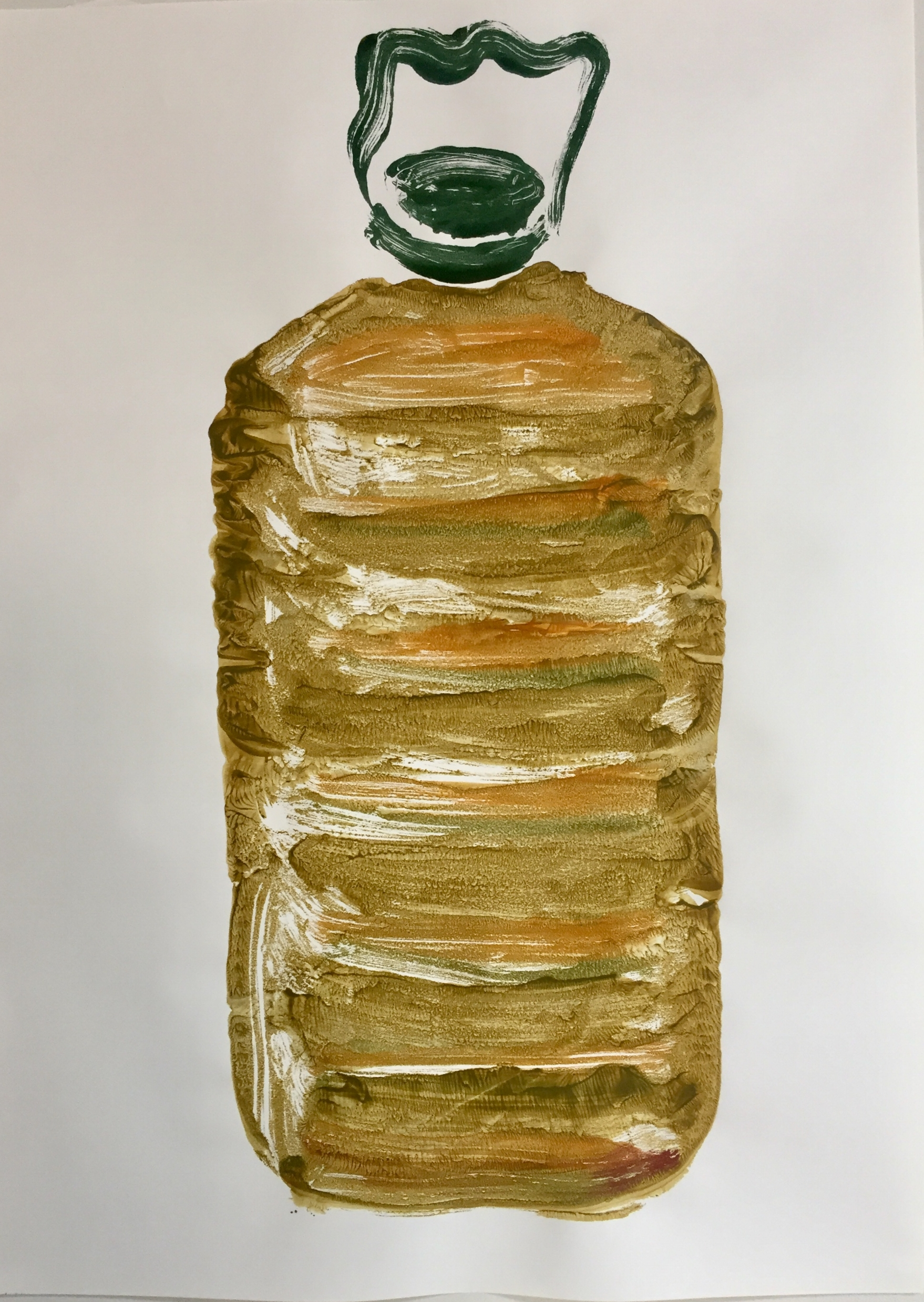 'The Kindness of Strangers': the gift of 5L of extra-virgin organic olive oil. (Mono-print on paper).