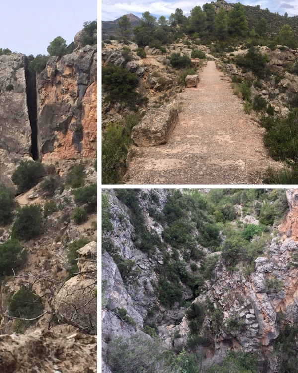 Left. The Peña Cortada from a distance. Top Right. The bed of the aqueduct and Lower Right. The view down into the gorge.
