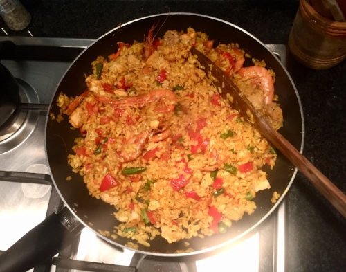 My attempt at paella, but I'm sure the locals wouldn't approve!
