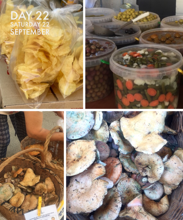 Hand cooked crisps on the snack stall, delicious olives and pickles and wild fungi. People buy them in kilos- I'm not sure what they do with so many!