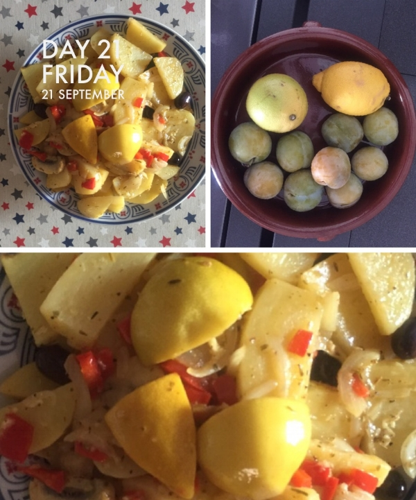 Potatoes baked with lemon, garlic and red peppers followed by greengages.
