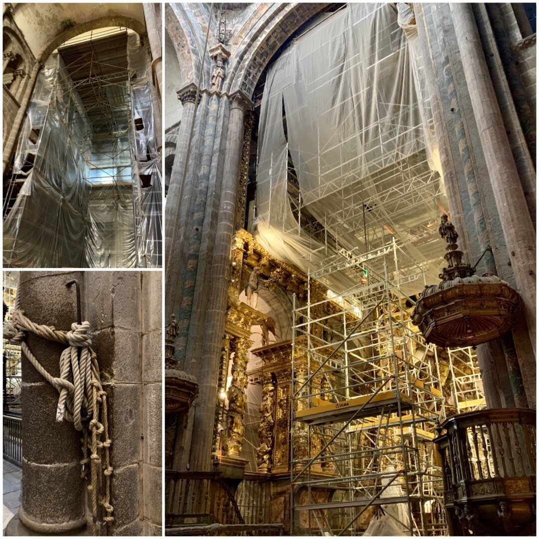 The cathedral renovations have a Piranesi like grandeur, even the ropes that swing the now missing Butofumerio.