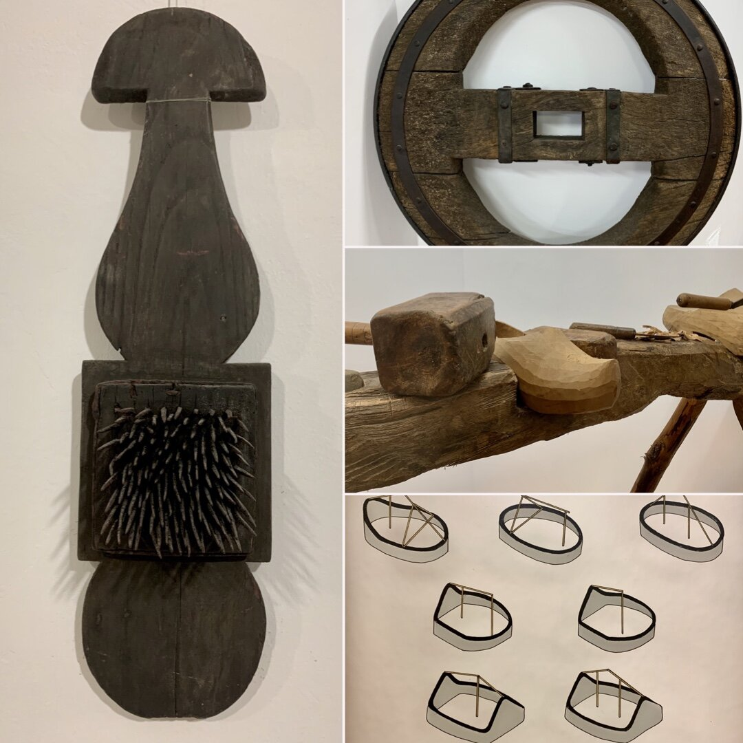 A flax carder, a wagon wheel, a clog-makers bench and traditional building forms.