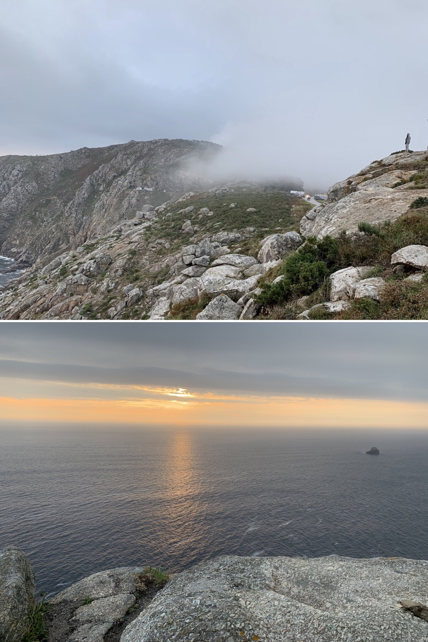 The Cabo is often shrouded in mist, but a break in the clouds revealed glimpses of the setting sun. The only sounds are the wind and the distant waves below and snatches of languages from all around the world.