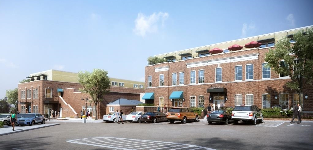 Rear view of Westhampton on Grove from the existing parking lot behind the Westhampton Theater
