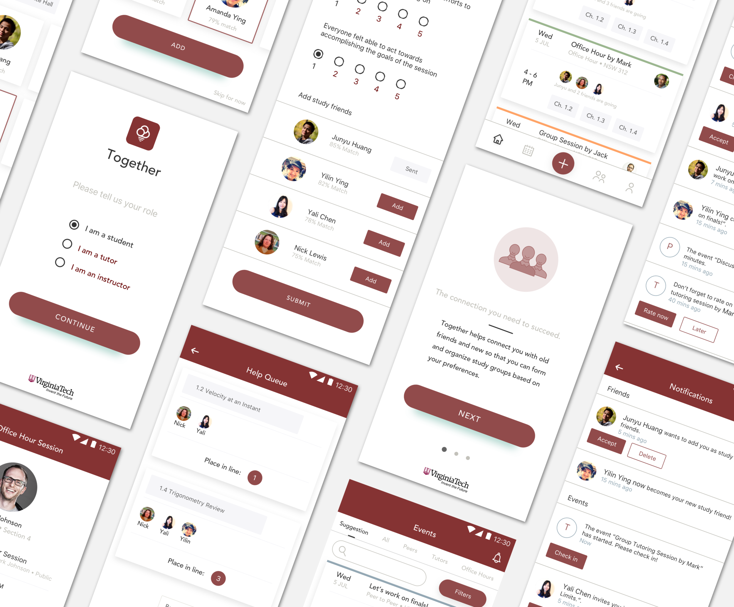 Introducing Together - A mobile app that will help Virginia Tech improve peer learning and tutoring experiences, facilitate human connections, and build a learning community. Together connects students with peers and provides valuable information to tutors, instructors, and administrators.