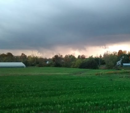 Storm blowing in over the fall cover crops