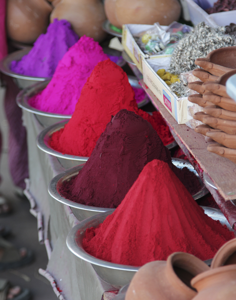 Holi powder, Mysore markets.