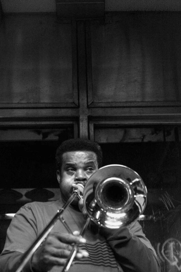 Unknown Trumpet Player. Fulton Stop , NYC.  © Kiki Provatas. No usage without permission.
