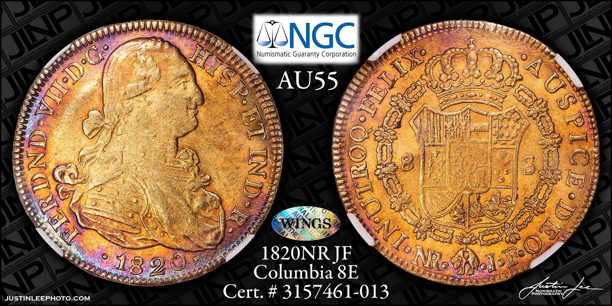 1820 Columbian 8 Escudos NGC AU55