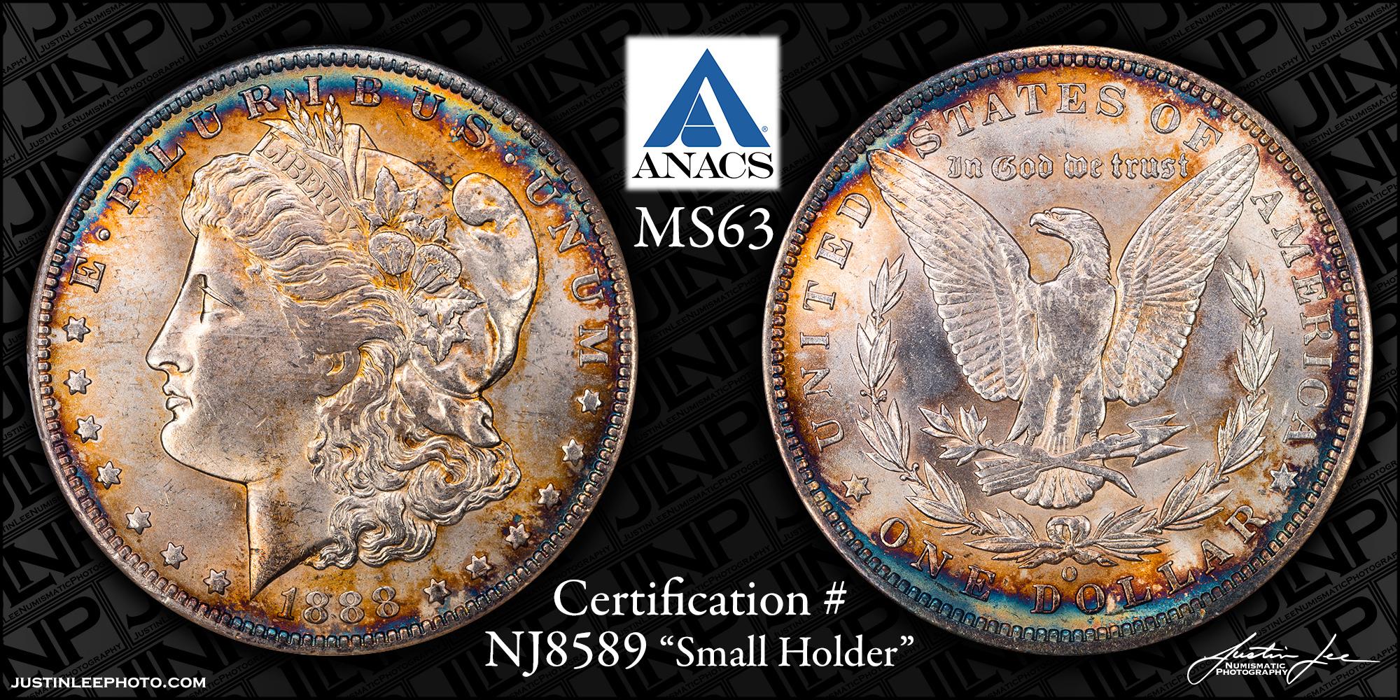 1888-O Morgan Dollar ANACS MS63