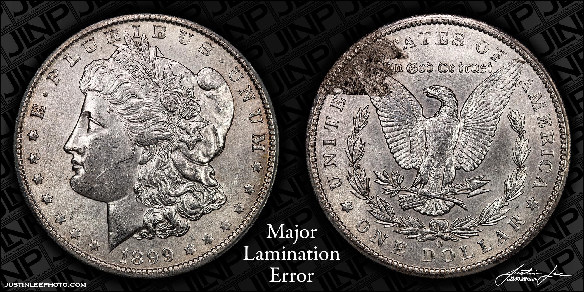 1899-O Morgan Dollar Reverse Lamination Raw