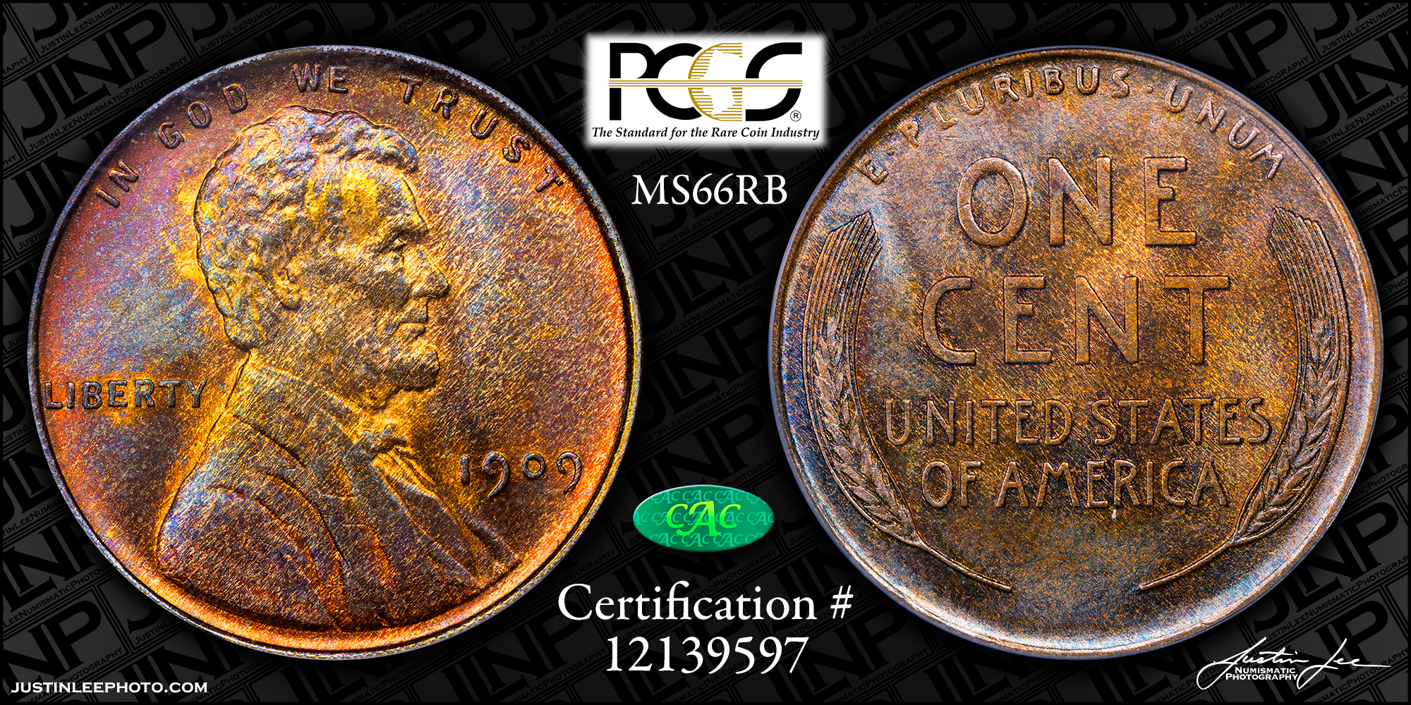 1909 Lincoln Cent PCGS MS66RB CAC