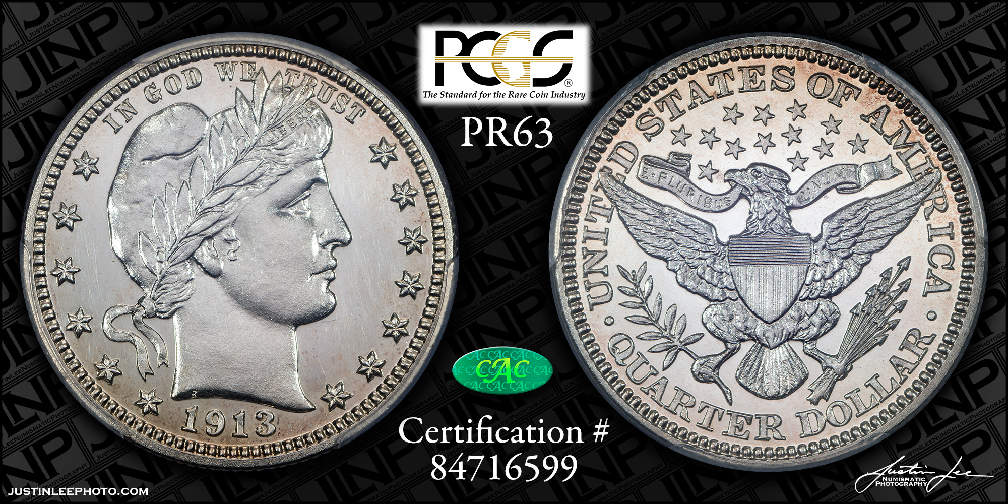 1913 Proof Barber Quarter PCGS PR63 CAC