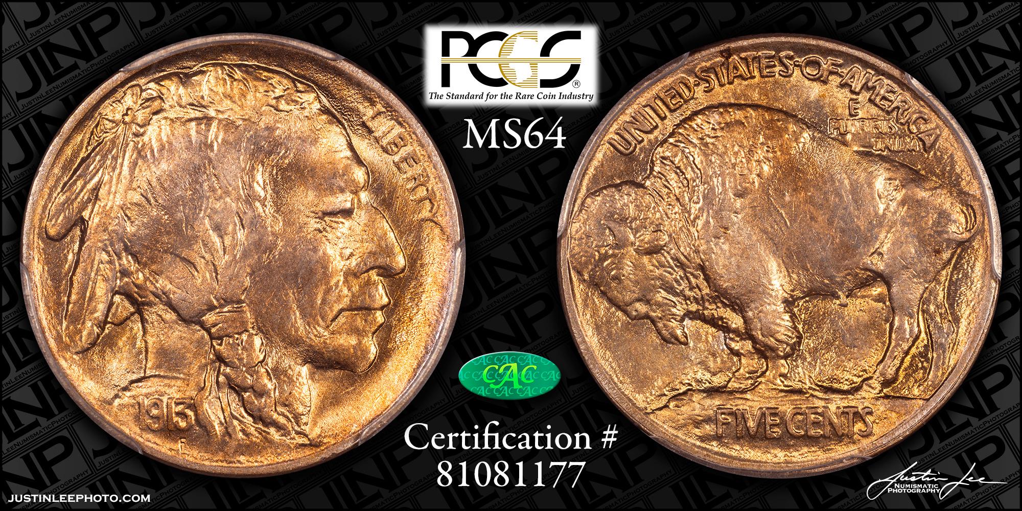 1913 Type 1 Buffalo Nickel PCGS MS64 CAC