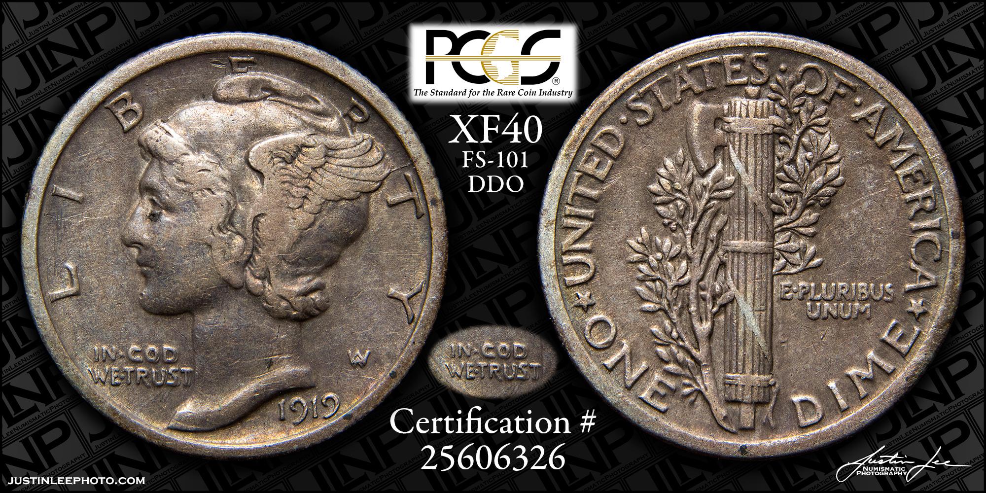 1919 Mercury Dime PCGS XF40 DDO FS-101