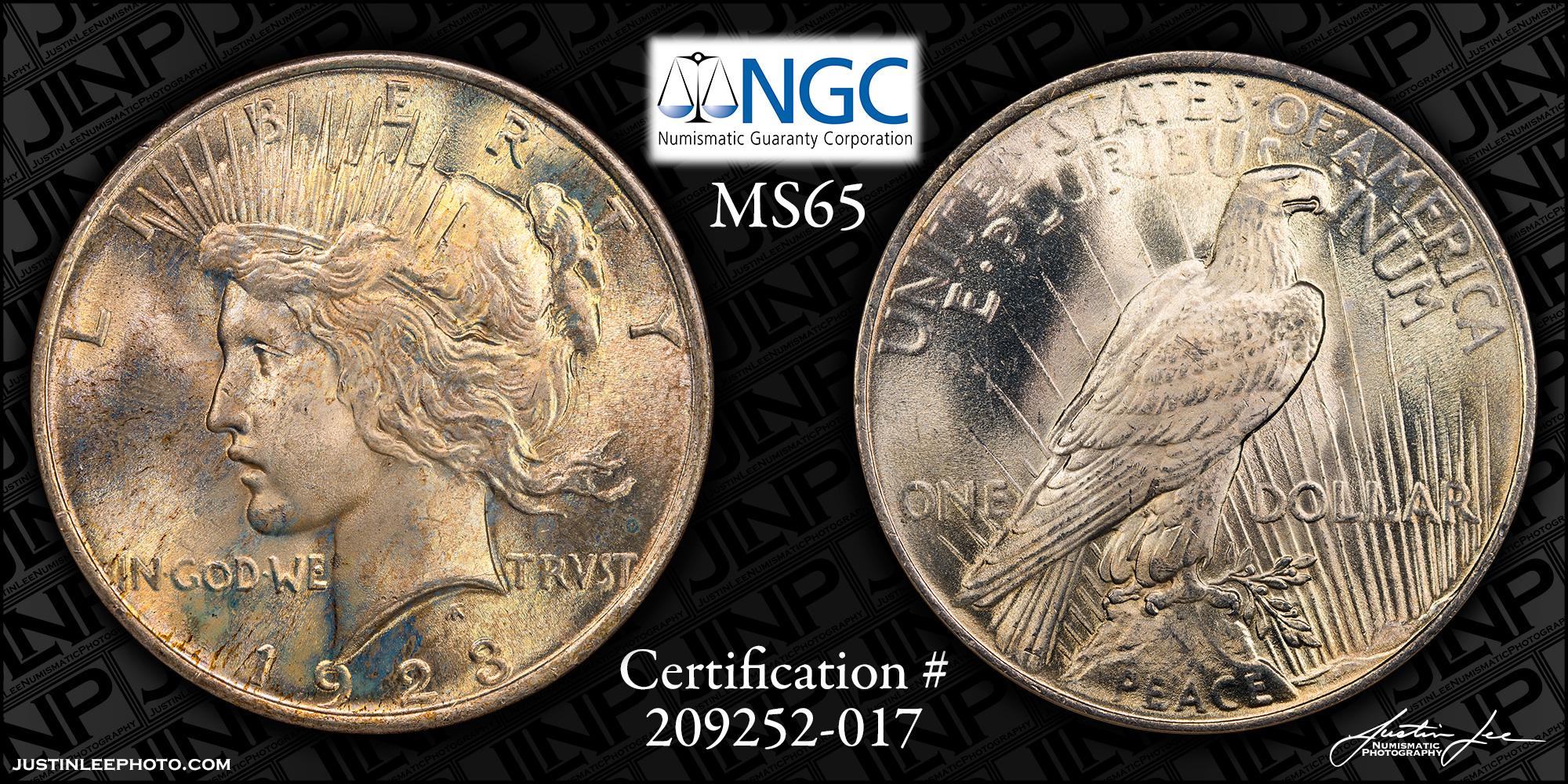 1923 Peace Dollar NGC MS65