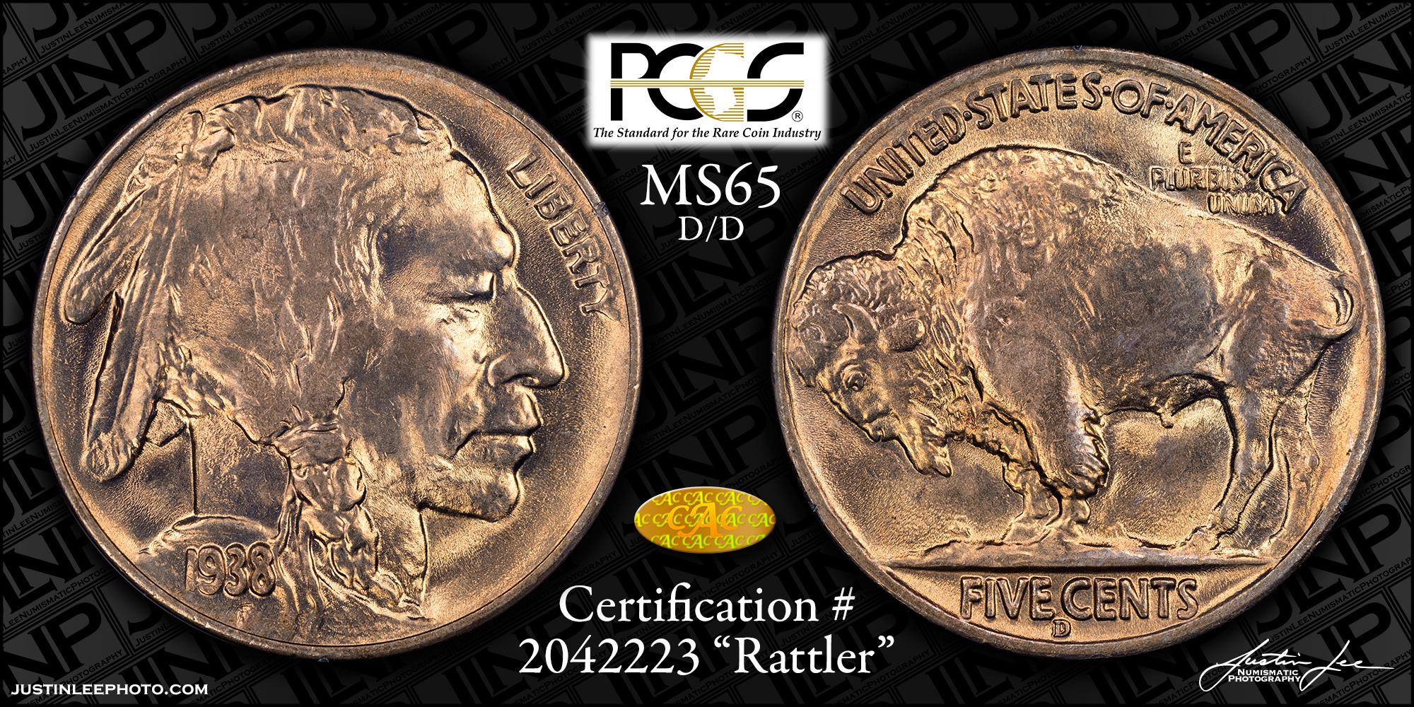1938-D/D Buffalo Nickel PCGS MS65 Gold CAC