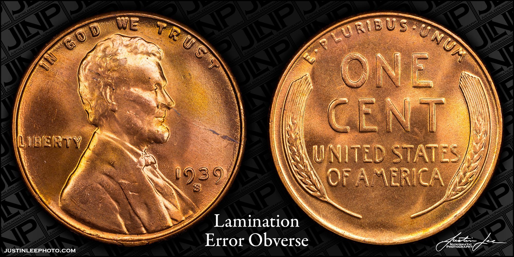 1939-S Lincoln Cent Obverse Lamination Error Raw