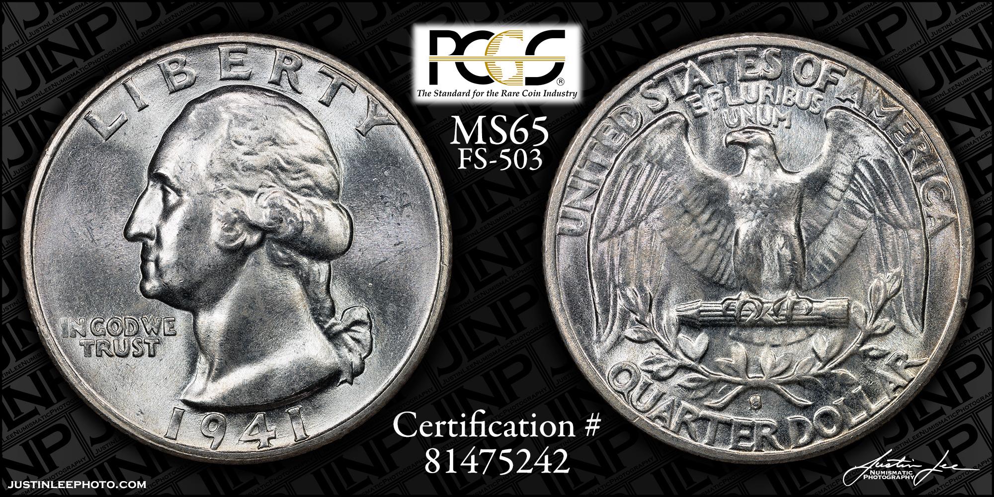 1941-S Washington Quarter PCGS MS65 FS-503