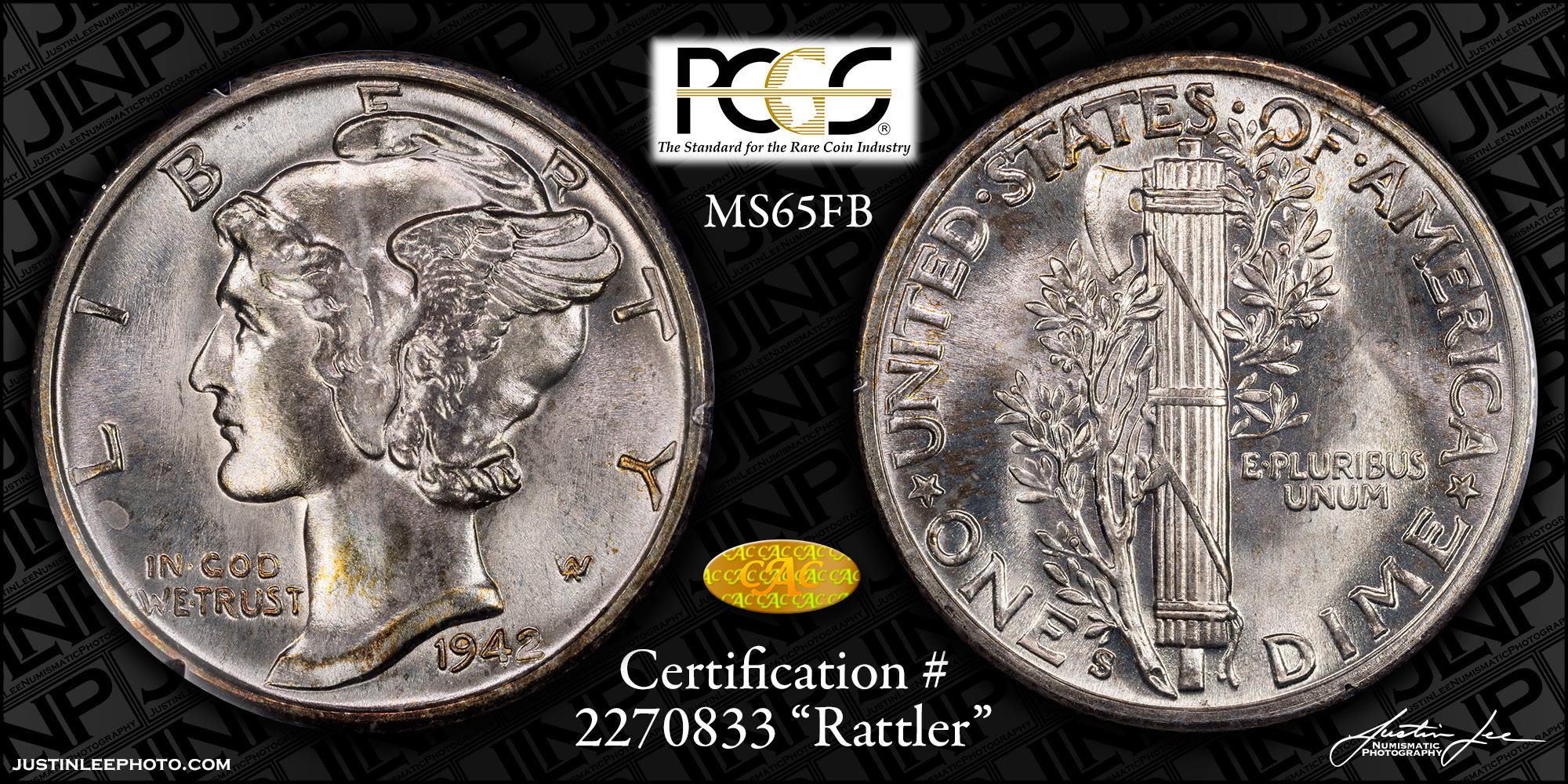 1942-S Mercury Dime PCGS MS65FB Gold CAC