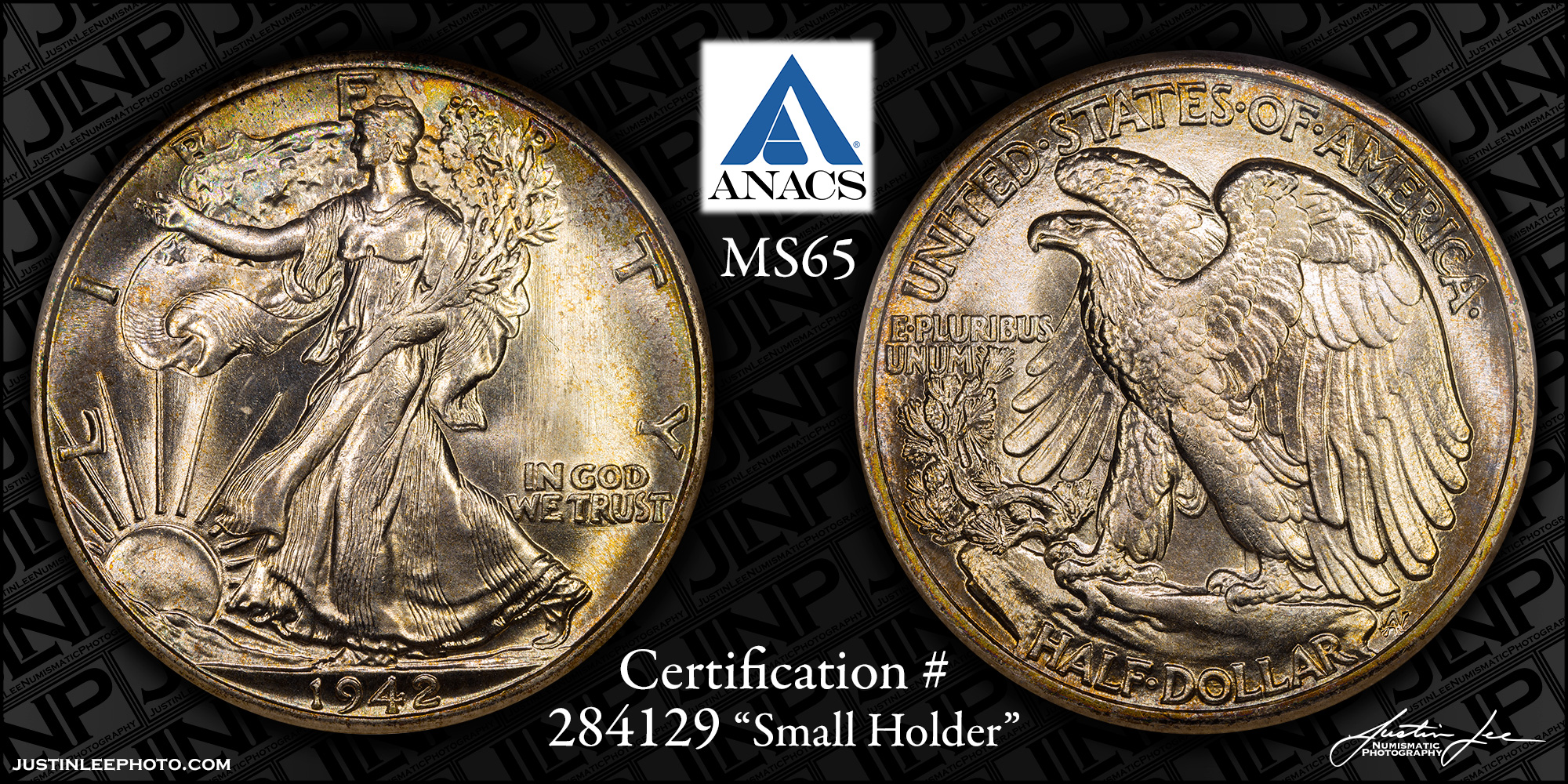 1942 Walking Liberty Half Dollar ANACS MS65