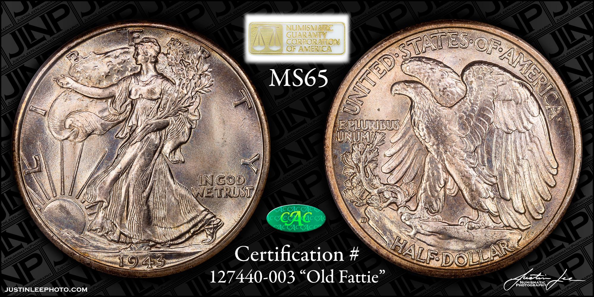 1943-D Walking Liberty Half Dollar NGC MS65 CAC