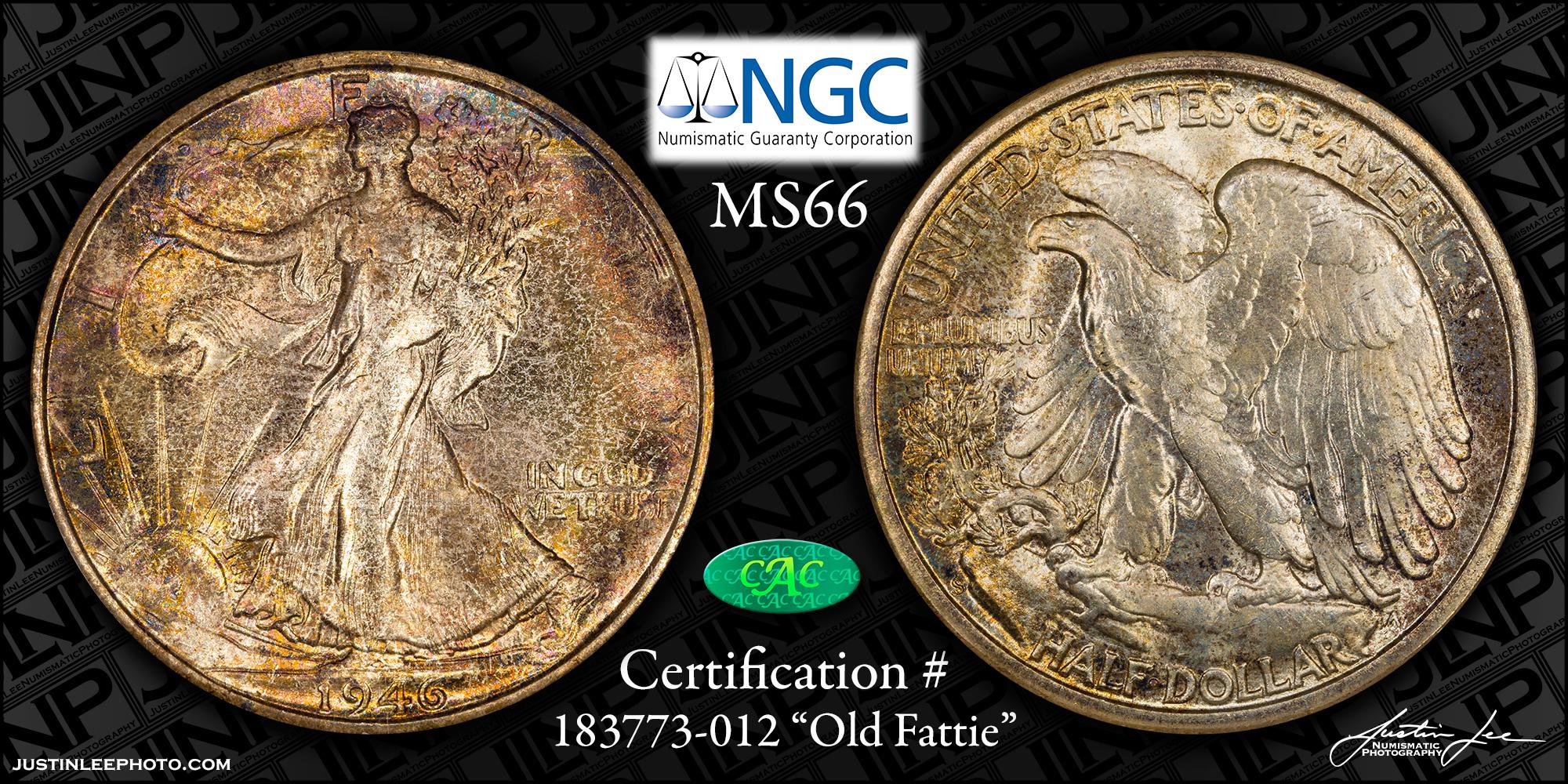 1946-S Walking Liberty Half Dollar NGC MS66 CAC
