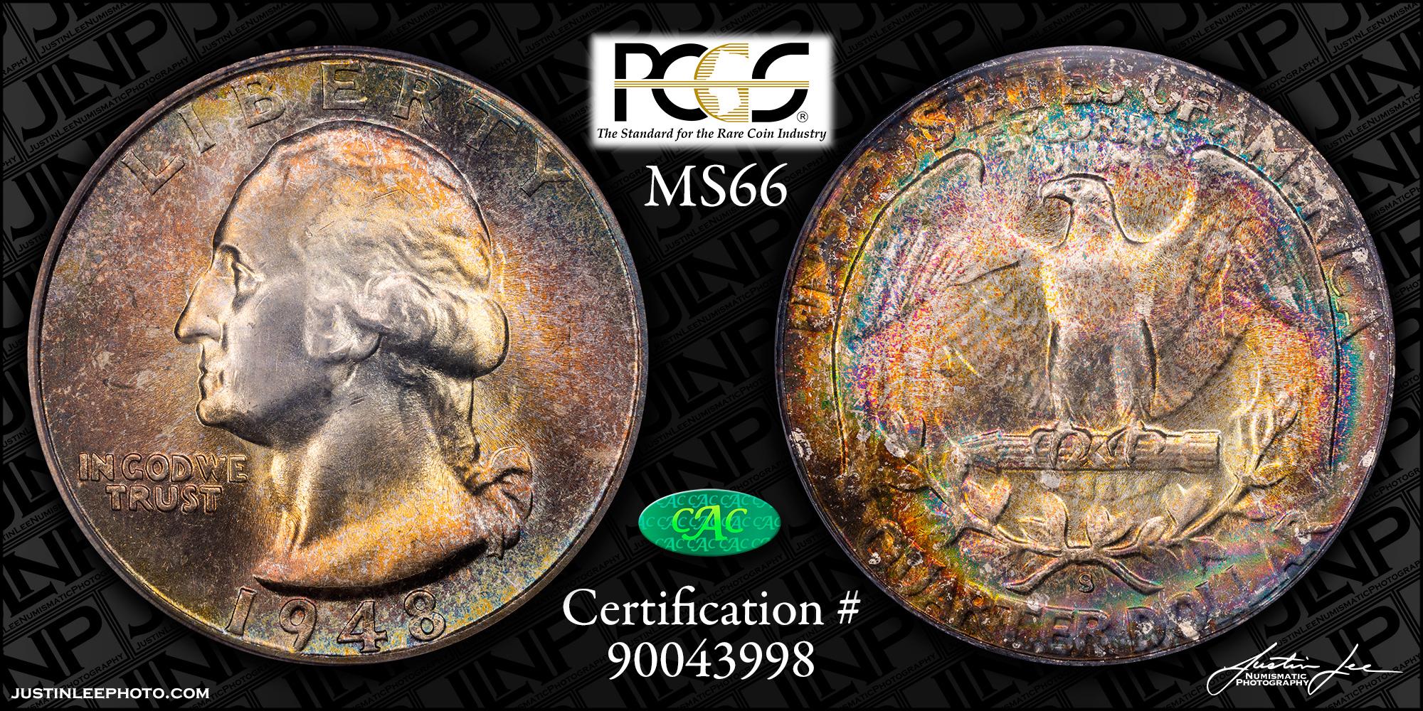 1948-S Washington Quarter PCGS MS66 CAC
