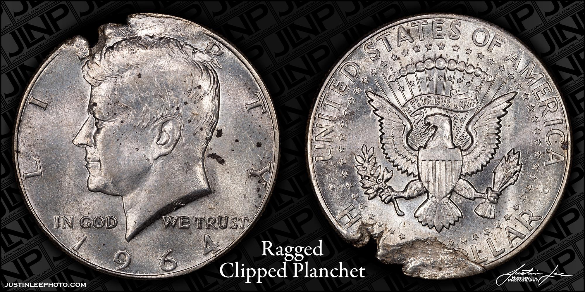 1964 Kennedy Half Dollar Ragged Clipped Planchet Raw