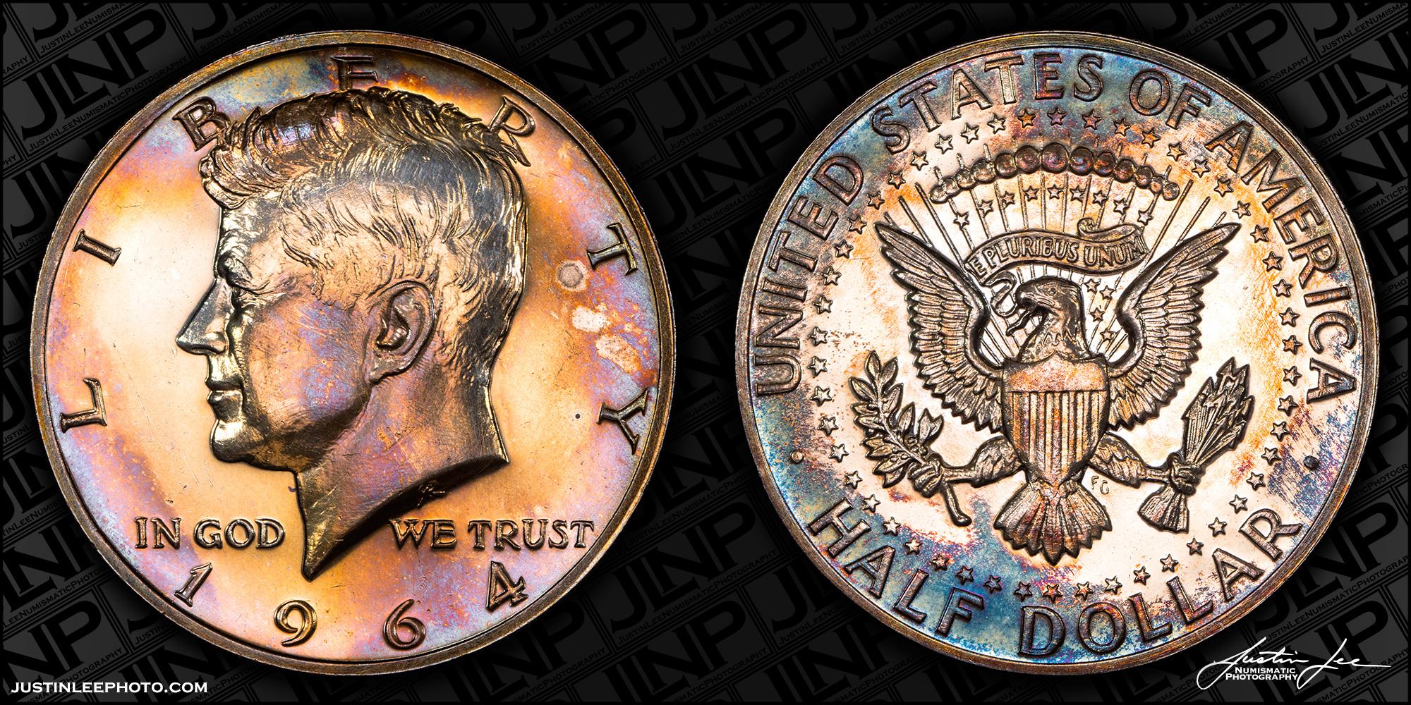 1964 Proof Kennedy Half Dollar Accented Hair Raw