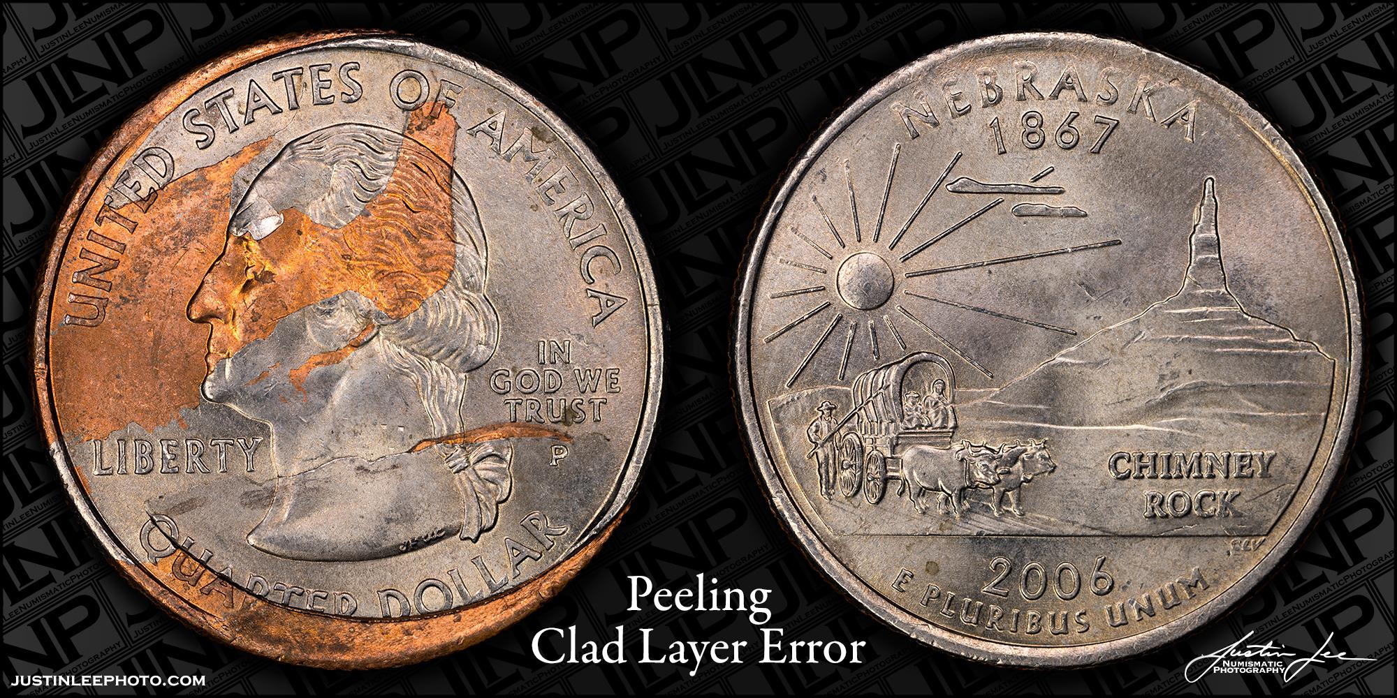 2006 Washington Quarter Peeling Clad Layer Raw