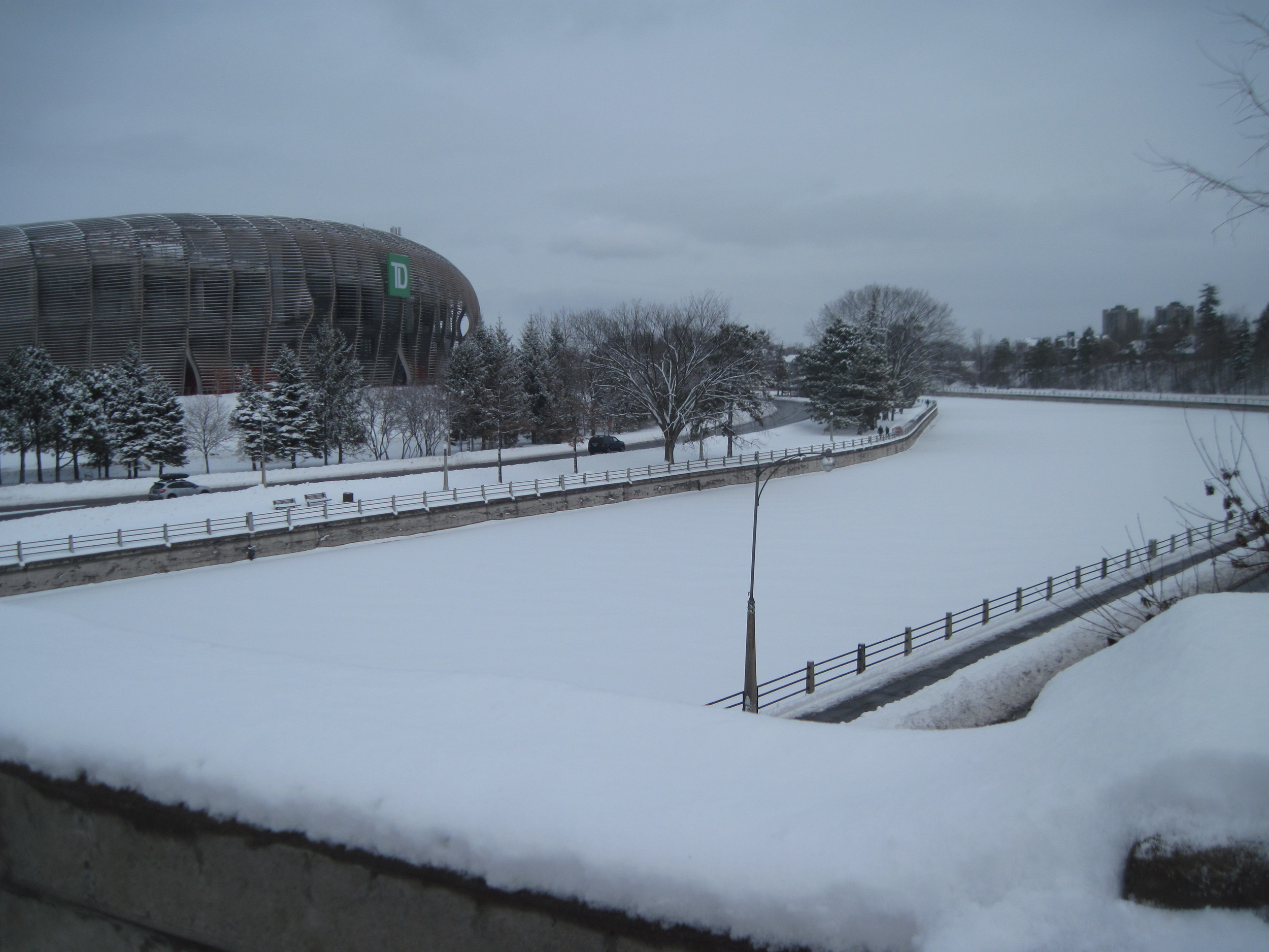 The Rideau Canal not-yet-skateway as seen from the Bank Street Bridge.