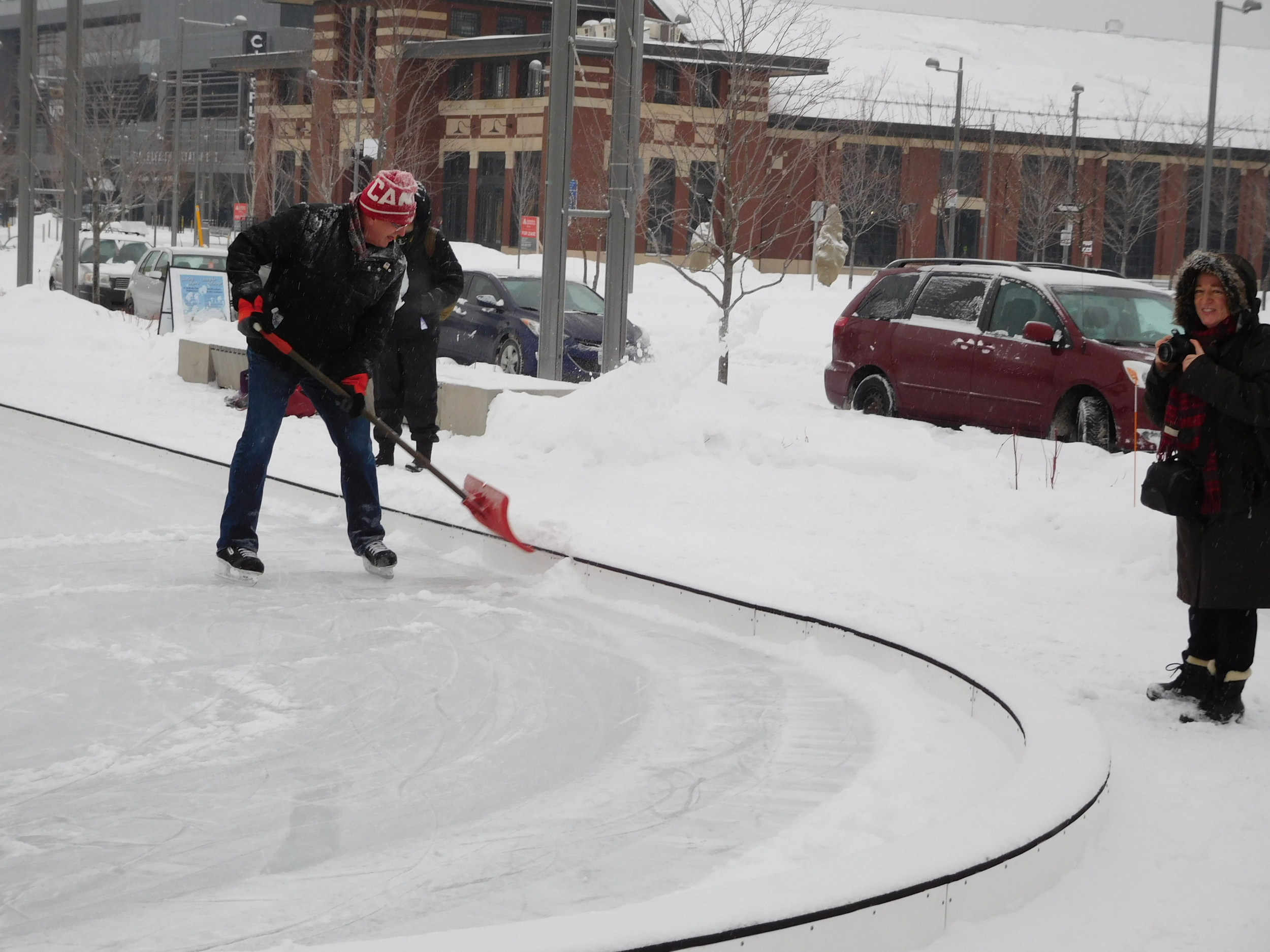 Clearing the snow at Lansdowne Park Skating Court.