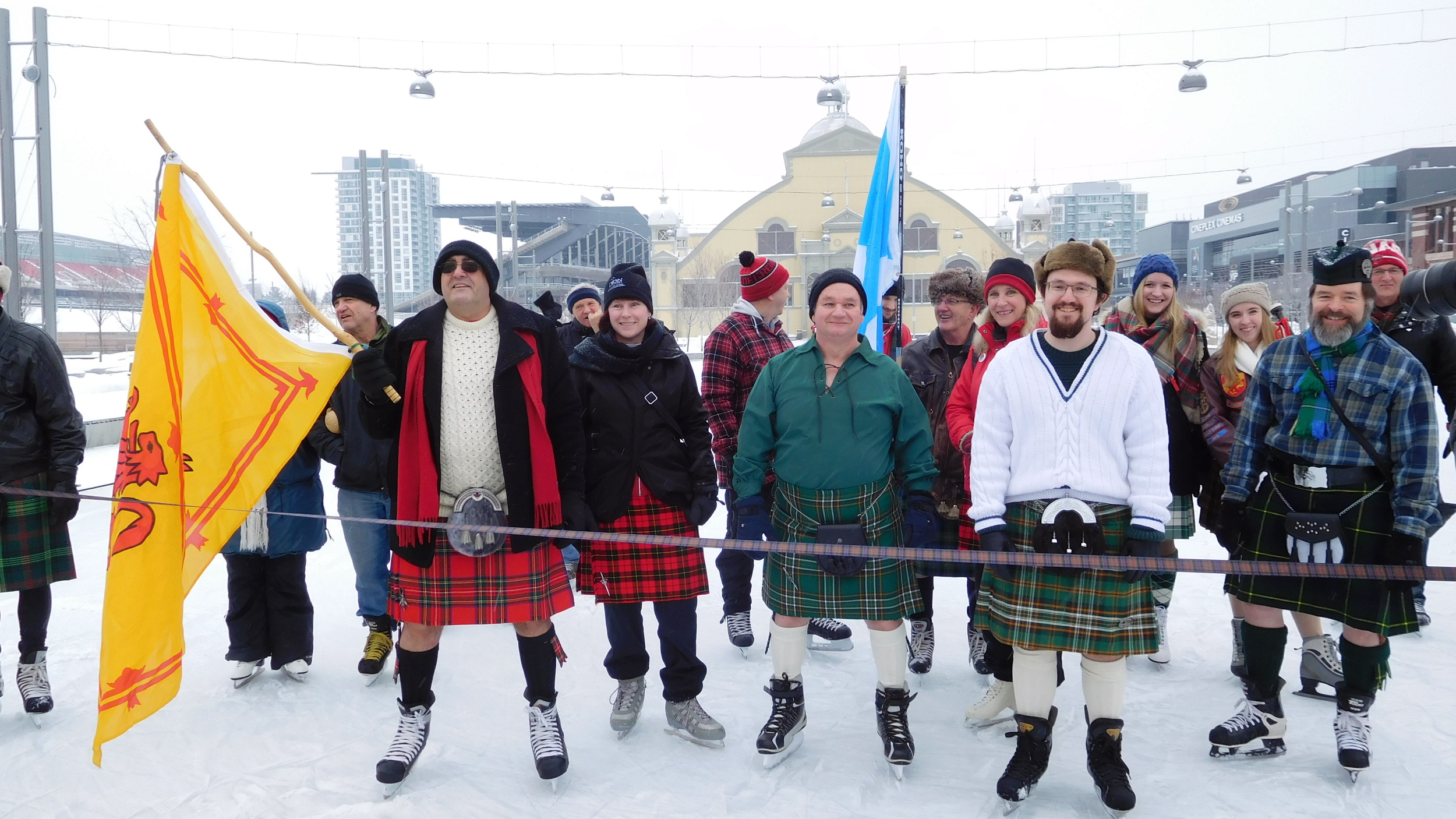 Skaters begin to gather at the starting line...