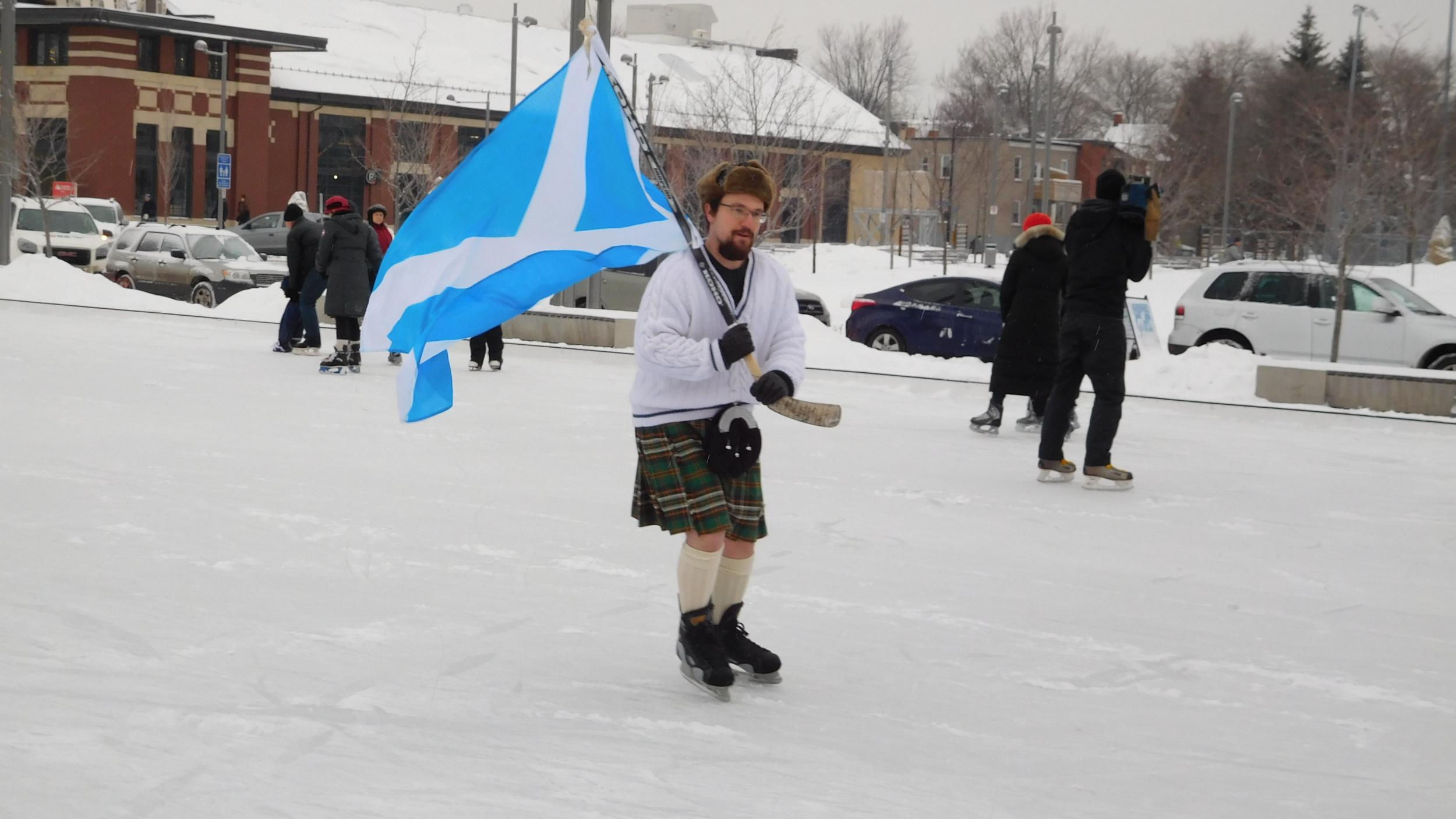 The hockey-stick saltire: symbol of Sir John A's Great Canadian Kilt Skate.