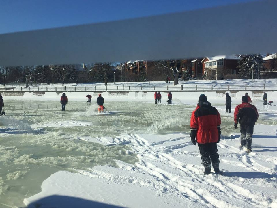 National Capital Commission (NCC) crews groom the Rideau Canal to turn it into the Skateway. Still lots of work to do!