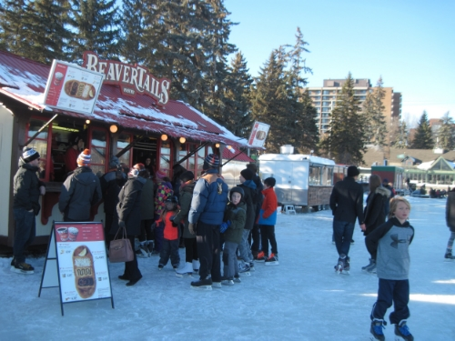 Skaters stopping for beavertails and hot apple cider at 5th avenue.