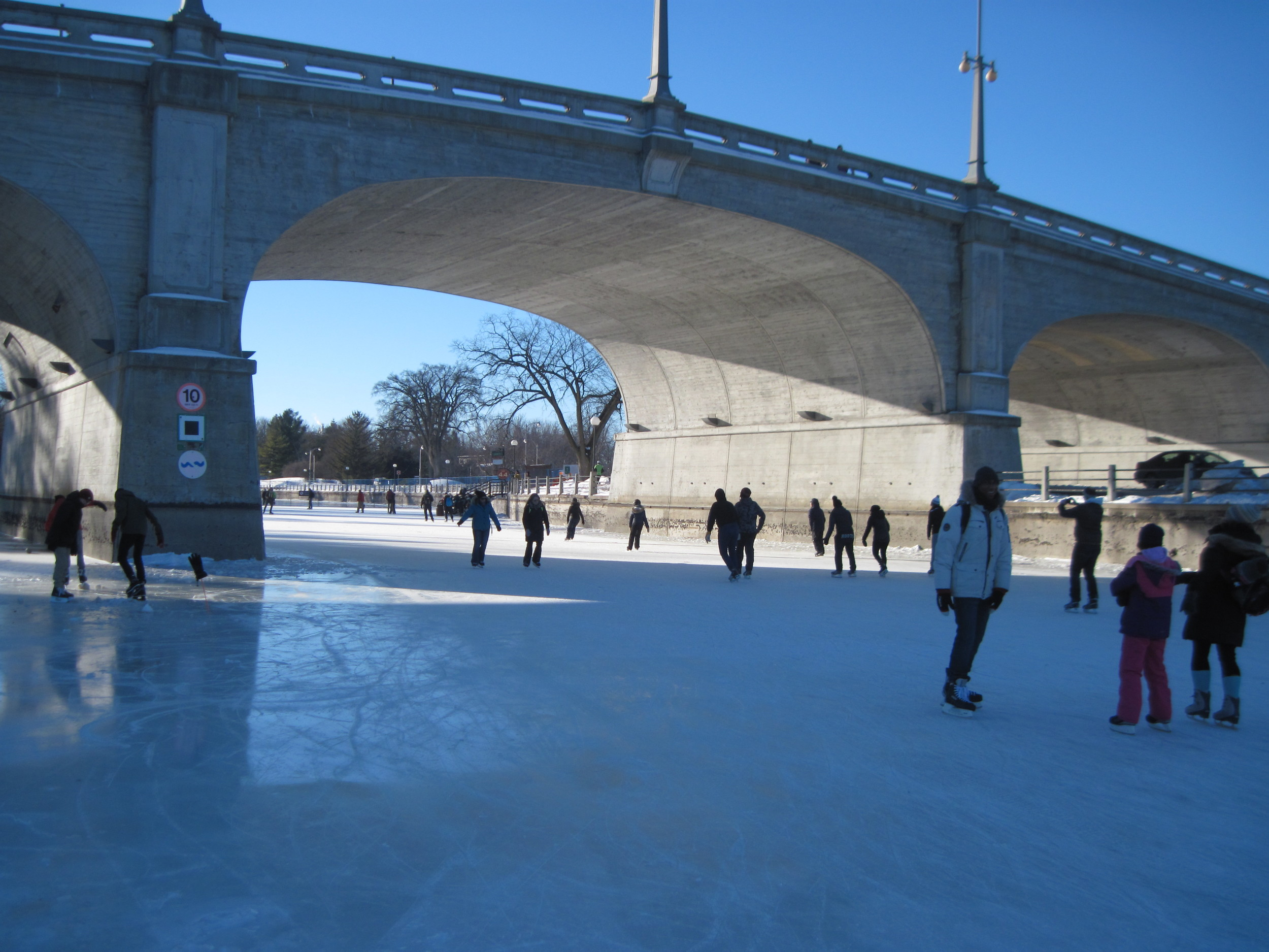 Rideau Canal Skateway at the Bank Street Bridge.