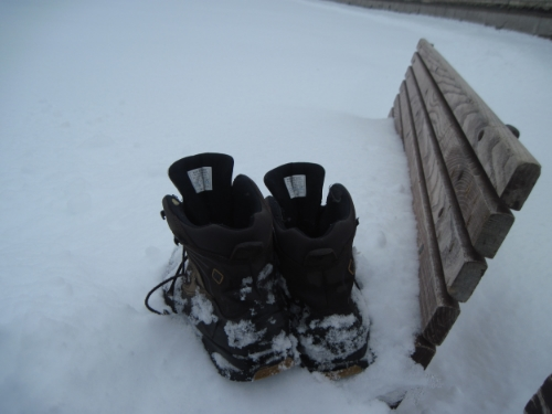 Snow was too deep to put the boots under the bench. In fact, the snow rose up over the bench.