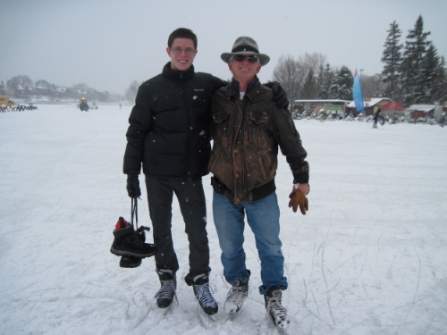 Father and son on their annual canal skate together.
