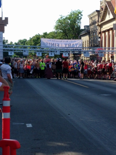 The starting line, 6 pm when the temperatures begin to drop.