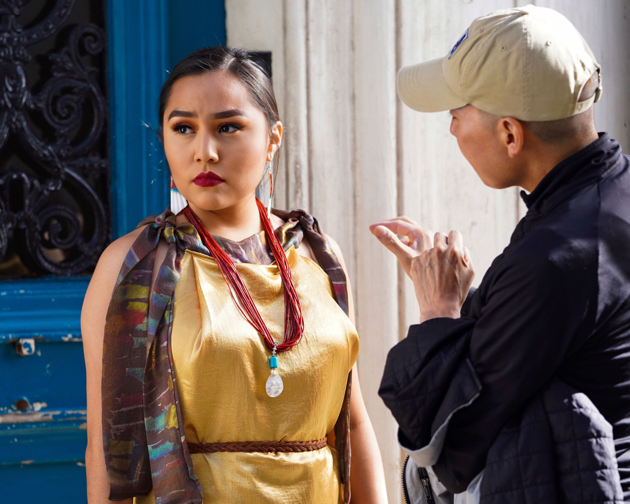 International Navajo/Diné Model: Shenoa Jones & Designer Jolonzo Goldtooth, Photo Shoot in Paris France for the International Indigenous Fashion Week (Courtesy Photo by Shady Bear Photography)