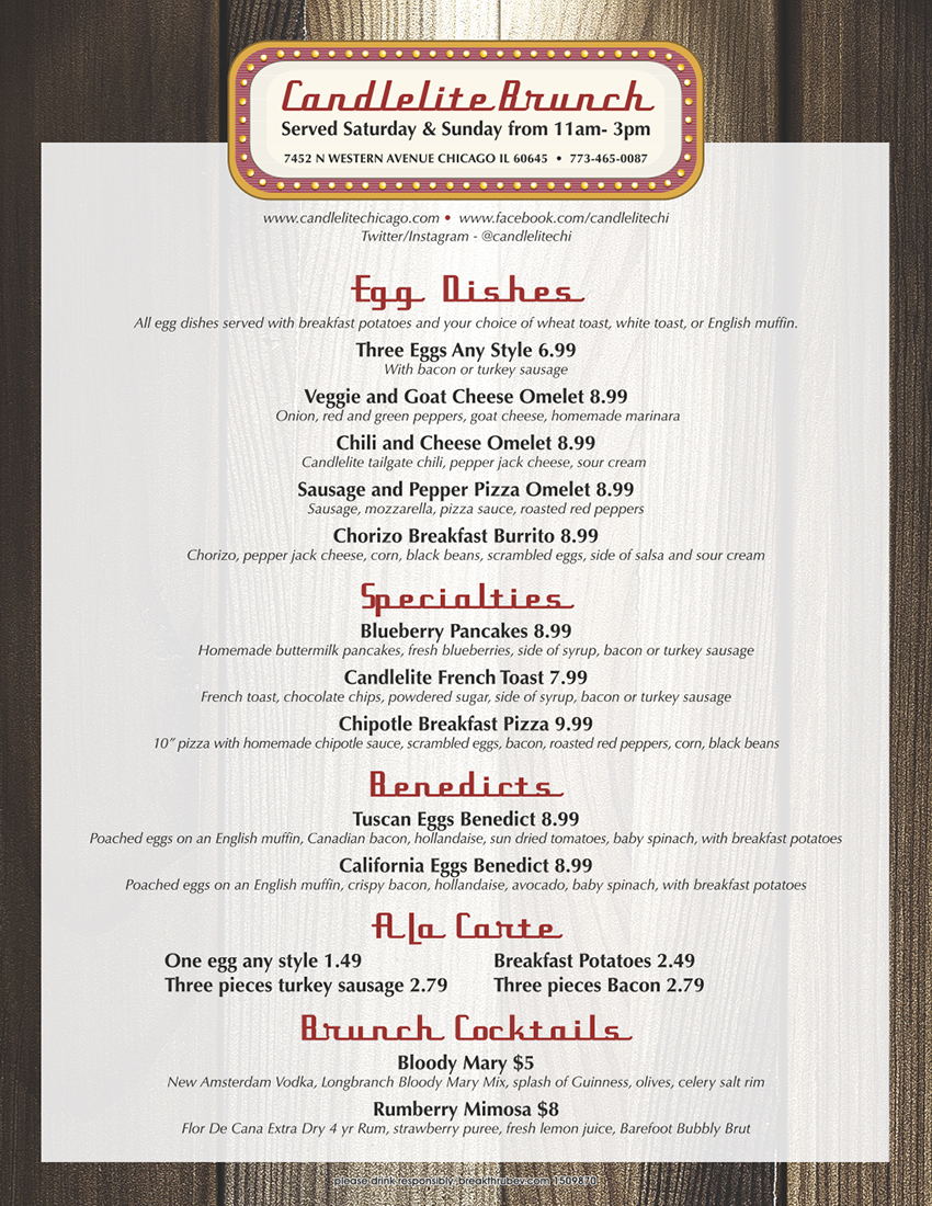 Candlelite Brunch Menu