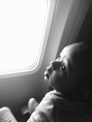 Grayson @ 4-months, flying from JFK to LAX