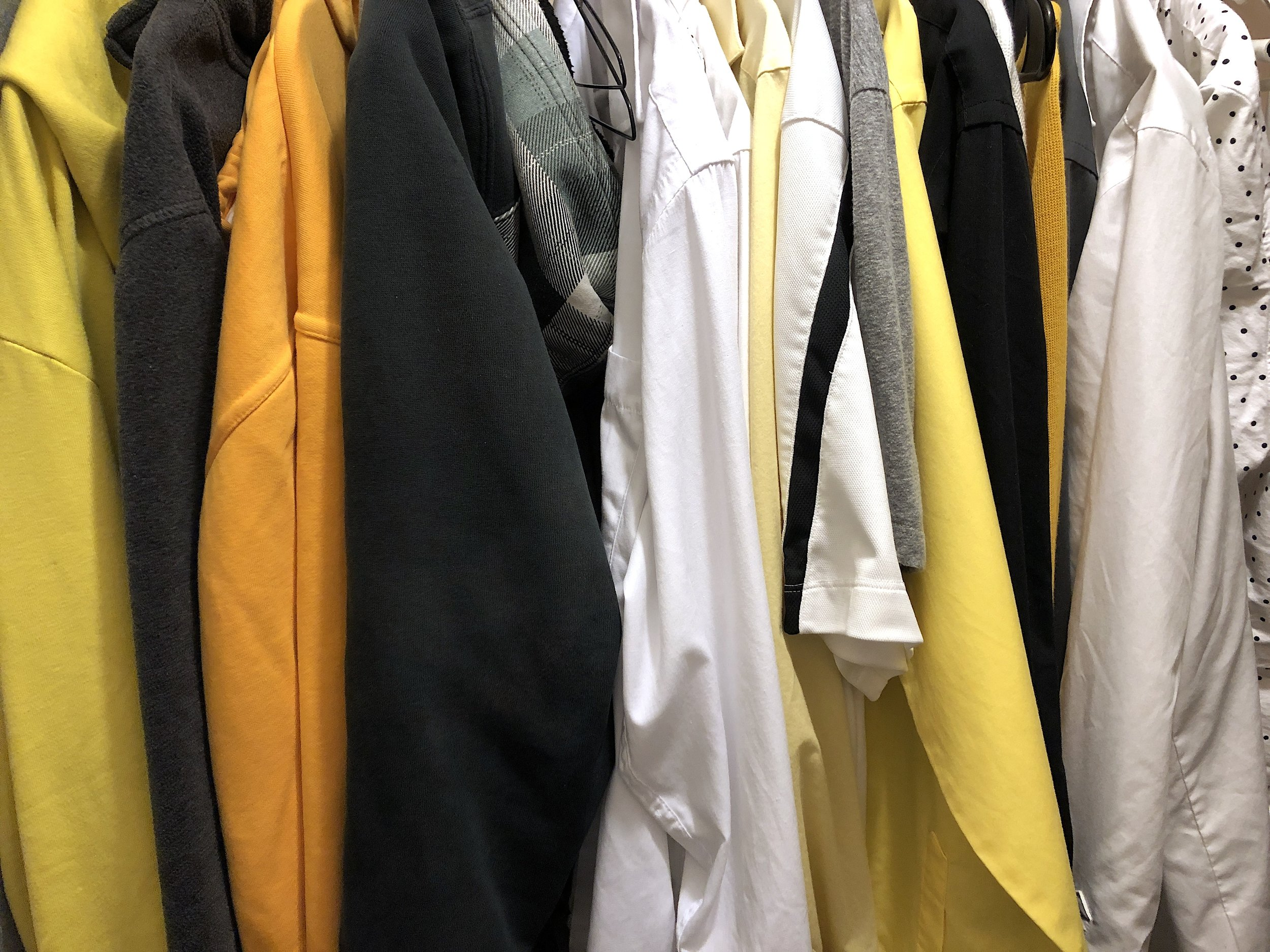 ryan meyer art closet clothes yellow black white