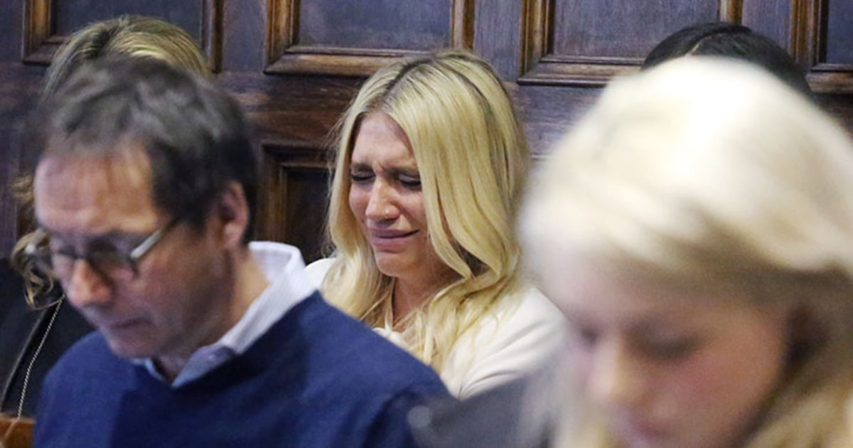 Kesha cries as the court announces its decision to uphold her contractual obligations to Dr. Luke, her producer and alleged rapist