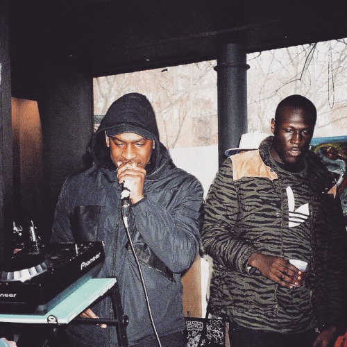 Skepta (left) and Stormzy (right) perform at the Moran Bondaroff art gallery in New York City in 2015.