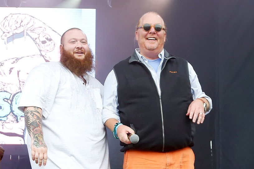 No rap show is complete without a cameo from Mario Batali in a sweater vest.